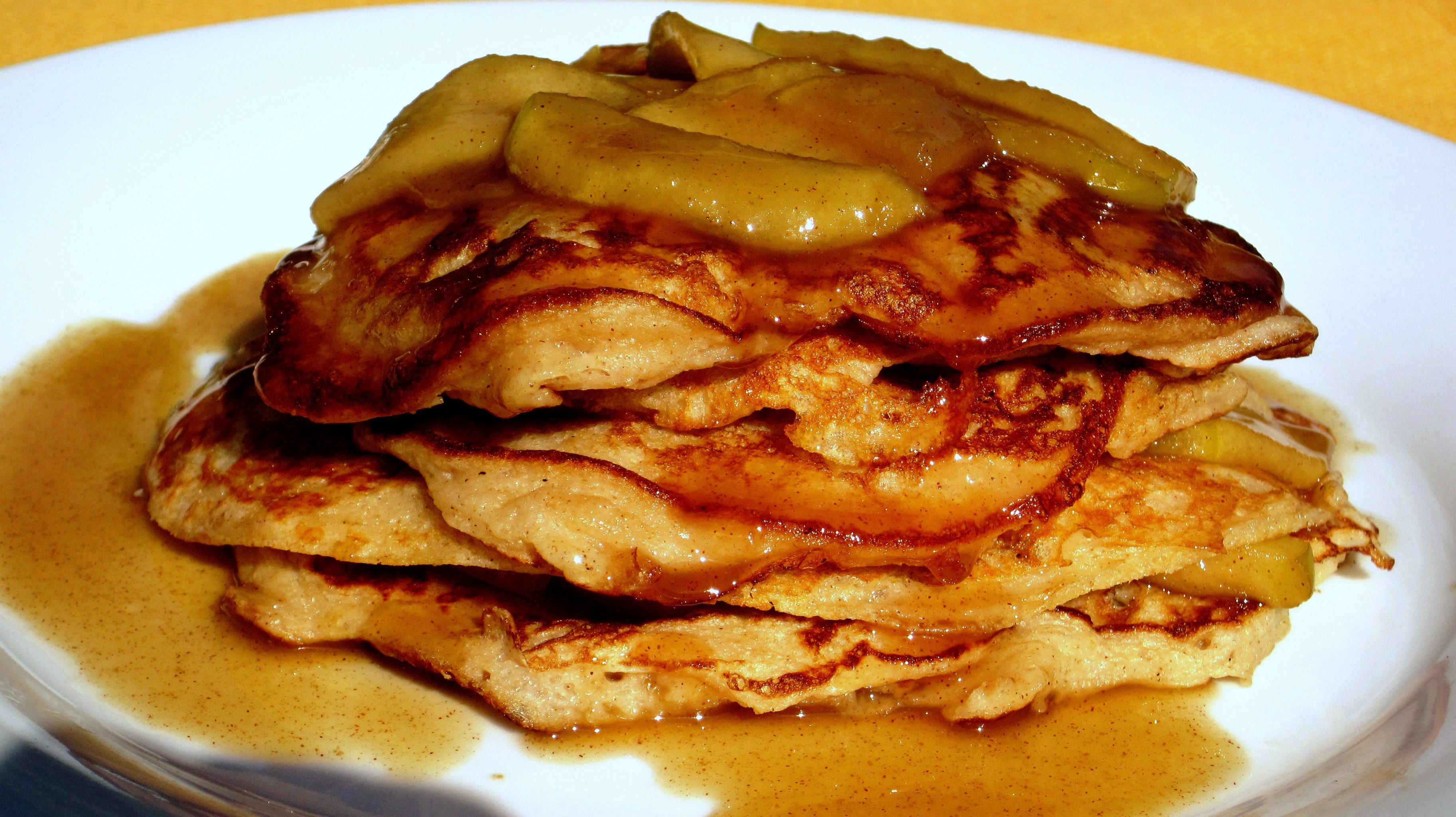 Whole Wheat Apple Yogurt Pancakes with Apple Cinnamon Maple Syrup. Dam ...